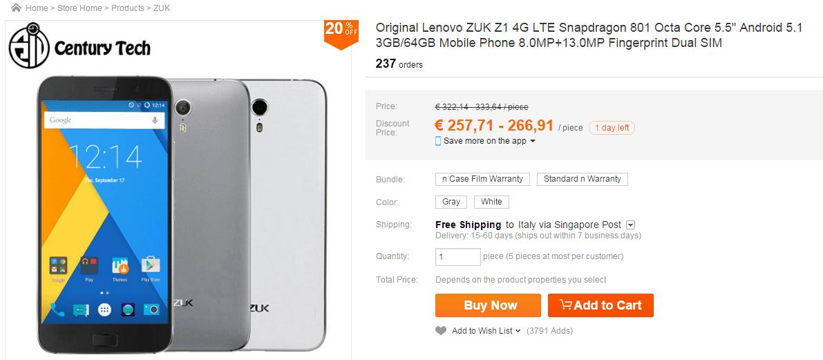 ZUK Z1 offerta