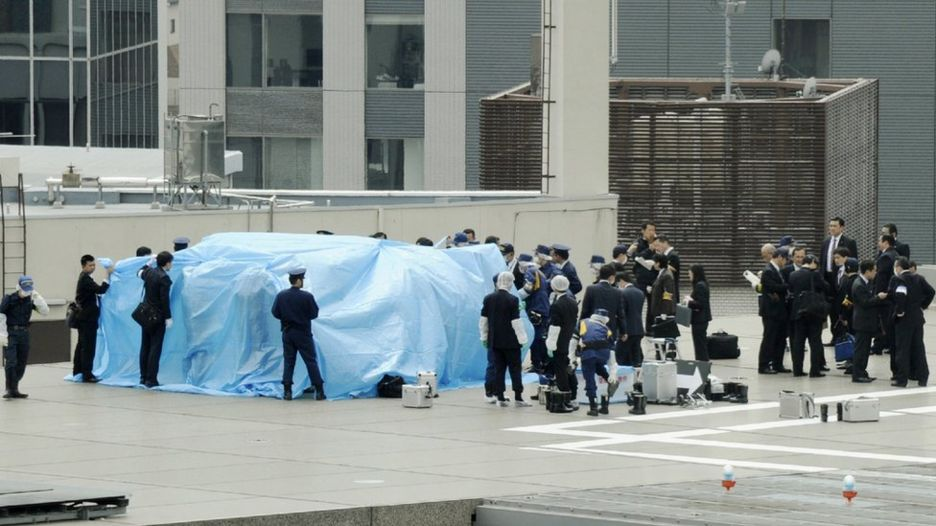 Drone sul tetto dell'ufficio del primo ministro giapponese