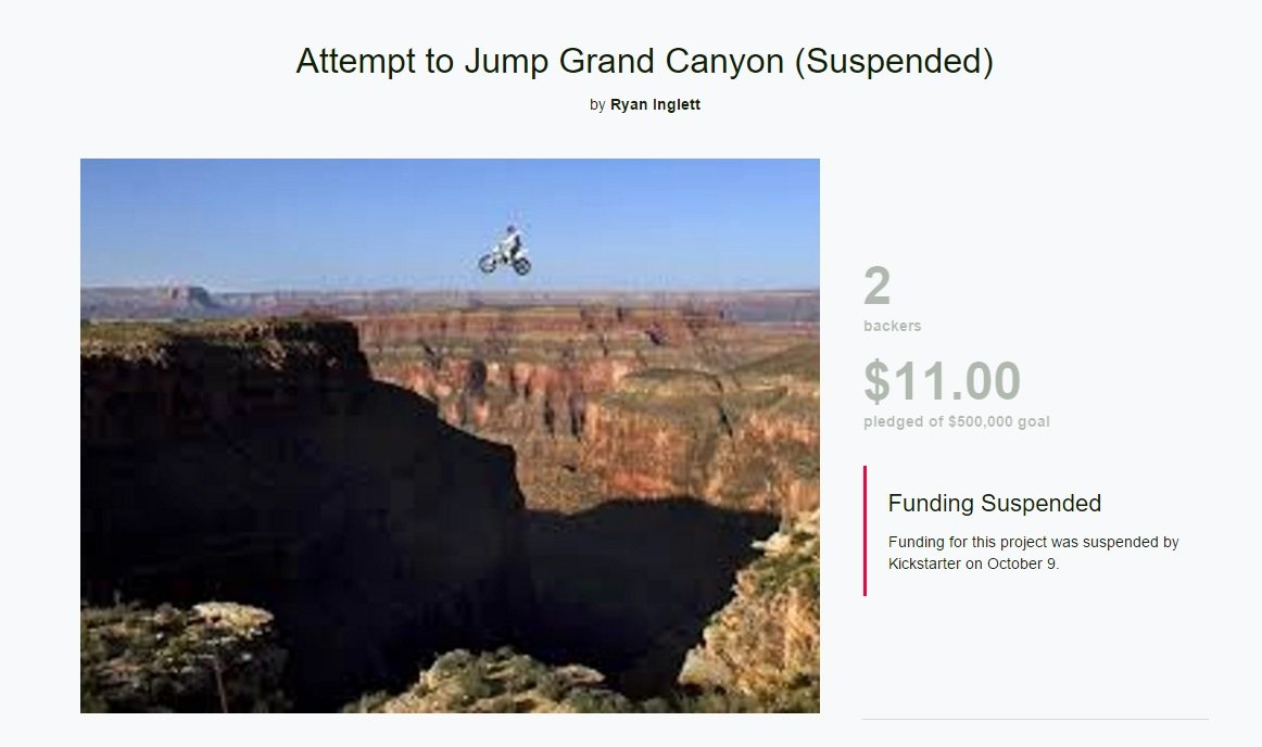 Tentative de sauter au Grand Canyon