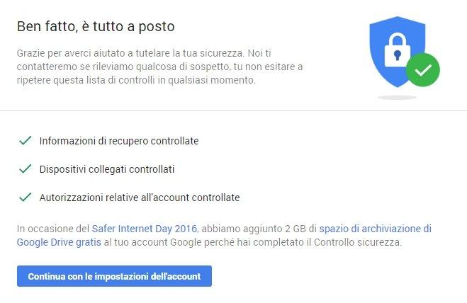 Impostazioni di sicurezza di Google
