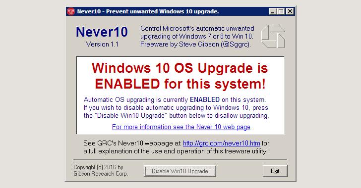Never10, programa para deshabilitar la actualización de Windows 10