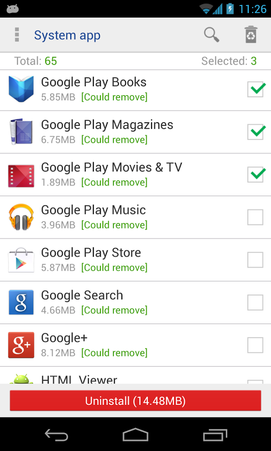 System App Remover,适用于Android的应用程序