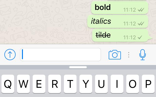 Grassetto, corsivo e sbarrato in WhatsApp