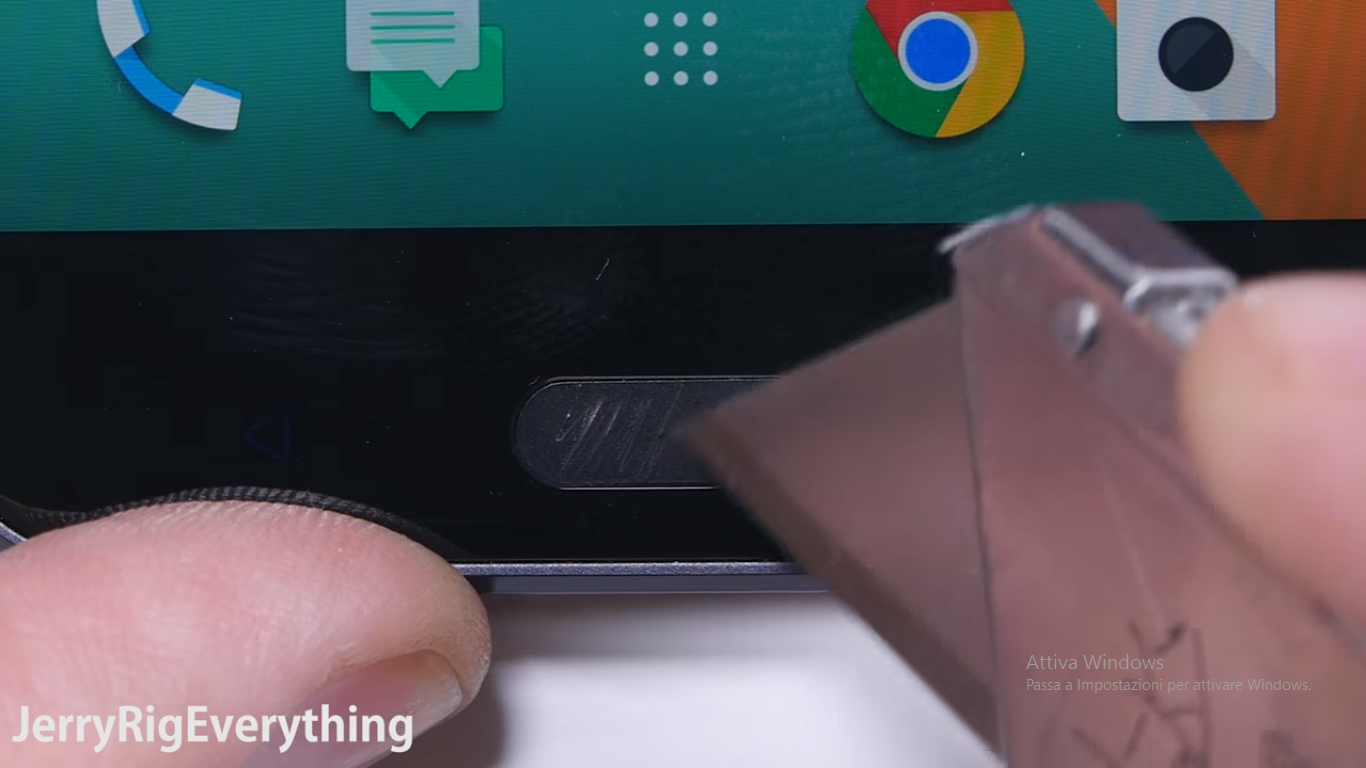 HTC 10 bend test scratch test burn test