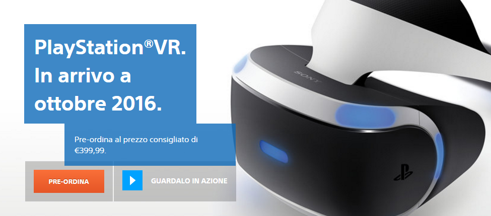 Sony PlayStation VR pre-ordini
