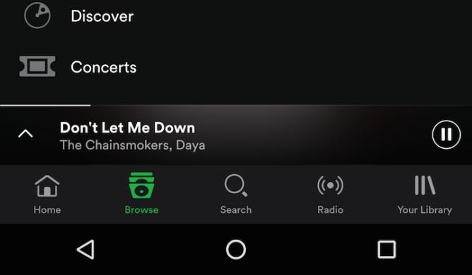 Barra de navegación de Spotify beta