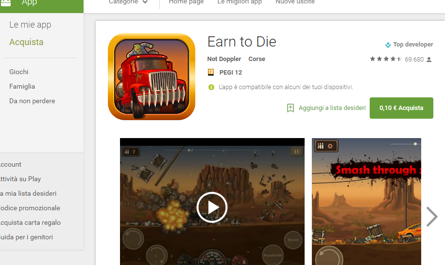 Google play store earn to die