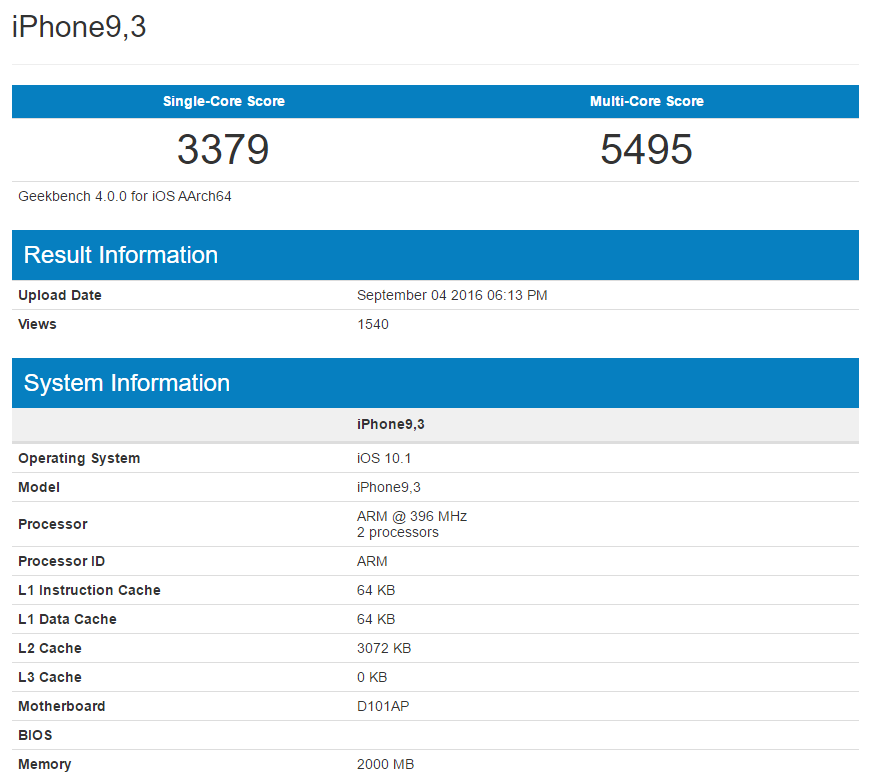Apple iPhone 7 Plus GeekBench
