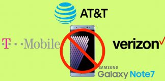 Samsung Galaxy Note 7 stop vendite operatori USA