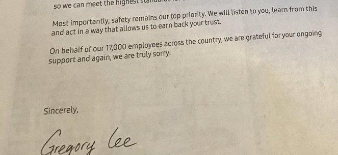samsung apologies