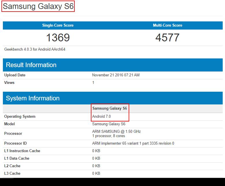 Samsung Galaxy S6 Android Nougat 1