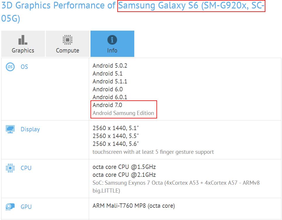 Samsung Galaxy S6 Android Nougat 2