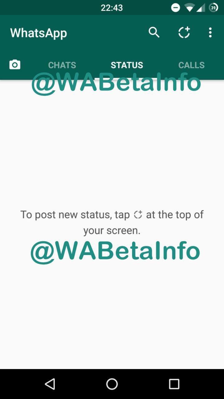 whatsapp status bar beta 2
