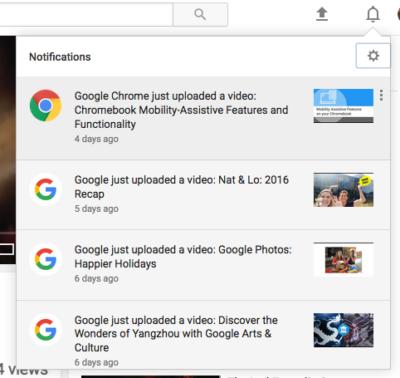 notificaciones de google youtube