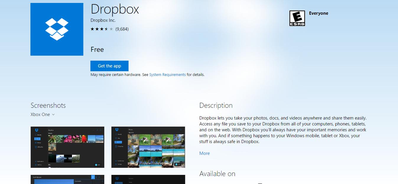 Xbox One Dropbox