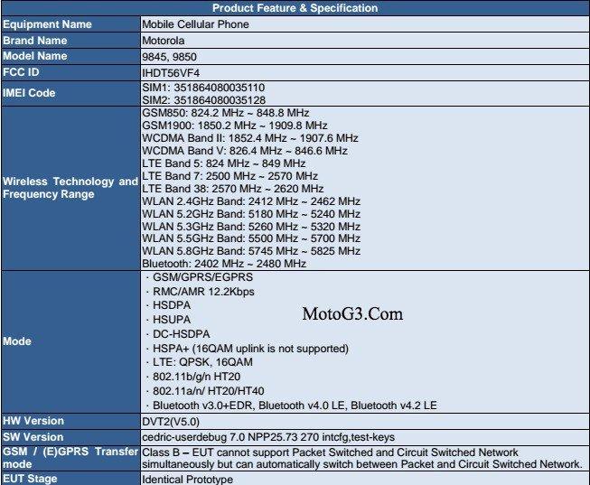 Lenovo Moto G5 Play FCC