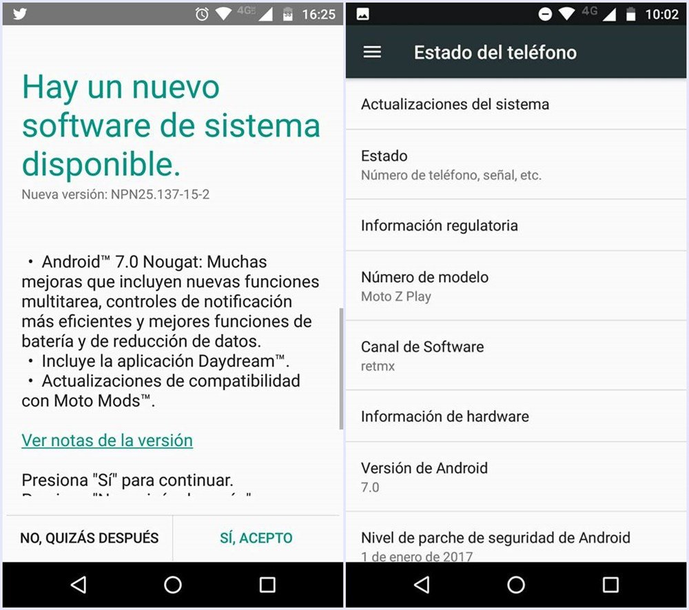 Android Moto Z Play Europe Android 7.0 Nougat