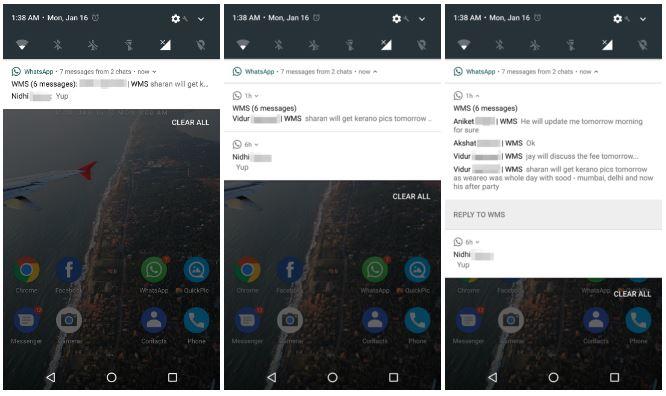 WhatsApp beta Android 7.0 Nougat notifiche