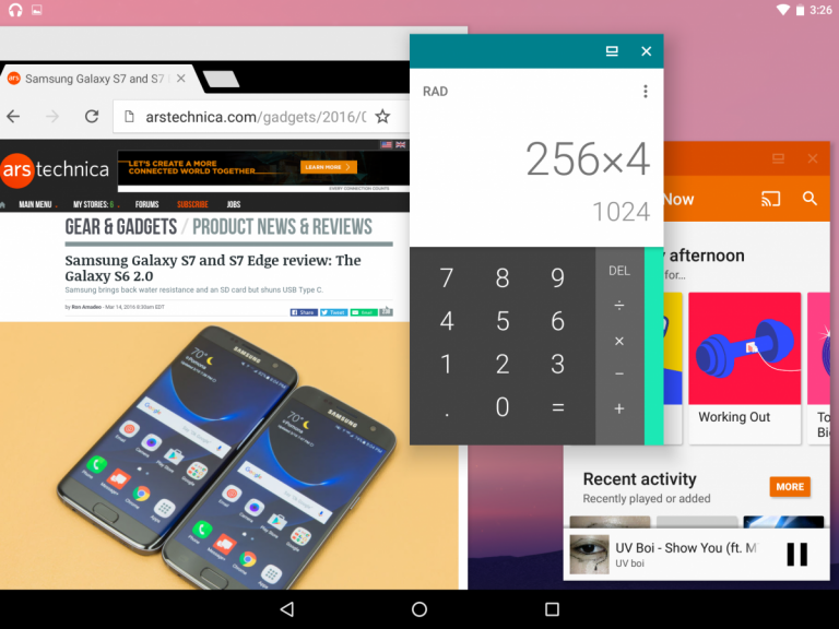 Android 7.0 Nougat Multifinestra