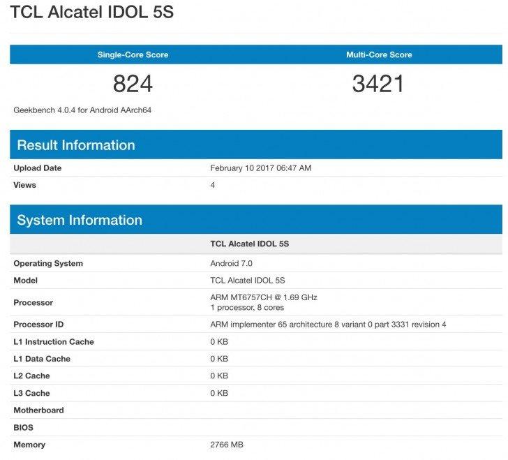 Alcatel Idol 5S GeekBench
