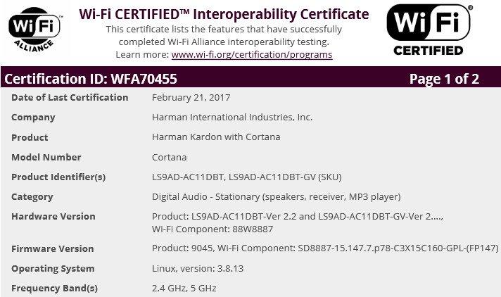 Harman altoparlante Cortana certificazione Wi-Fi