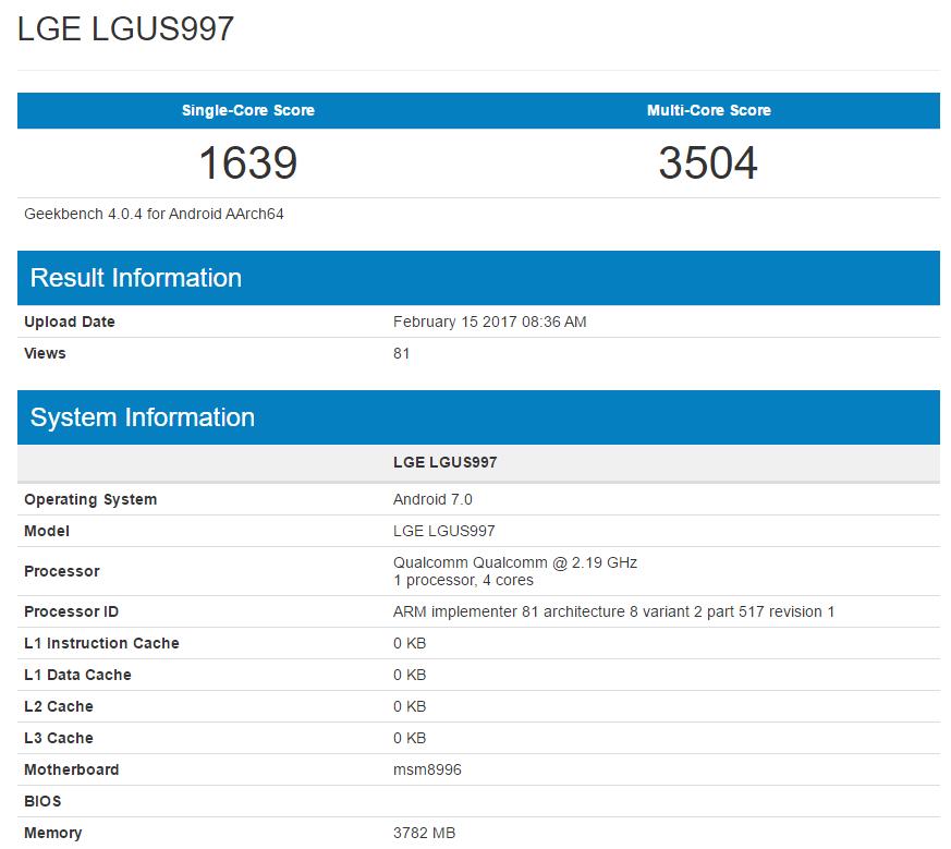 LG G6 GeekBench