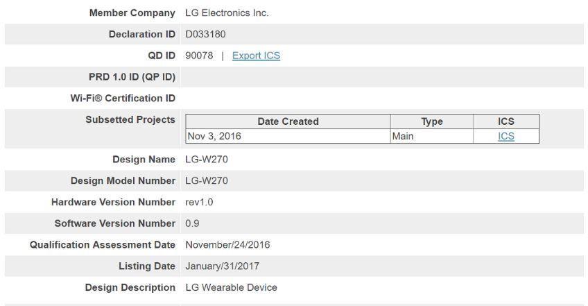 Certificación de LG Watch
