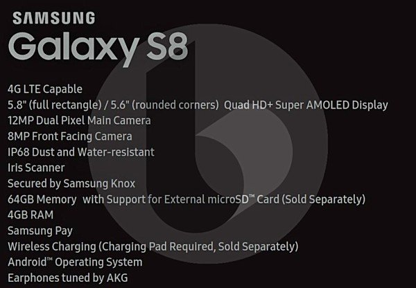 samsung galaxy s8 scheda tecnica