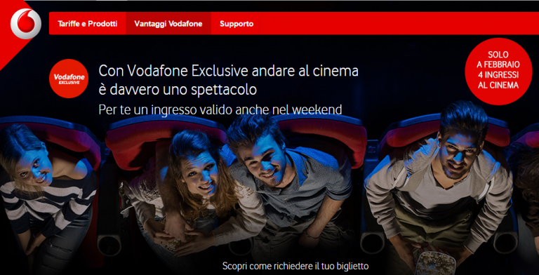 vodafone exclusive offerta cinema febbraio