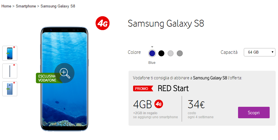 Samsung Galaxy S8 Vodafone RED