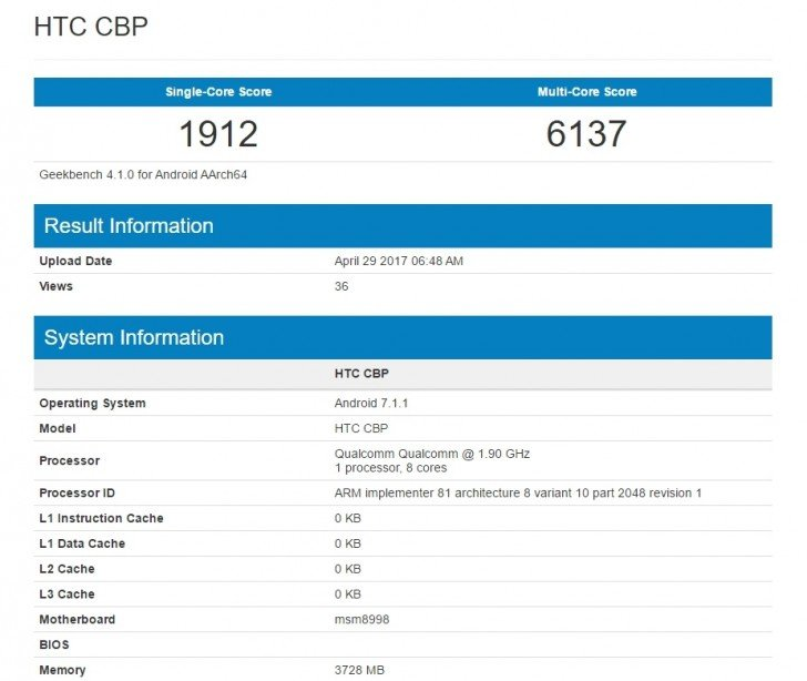 htc u 11 geekbench
