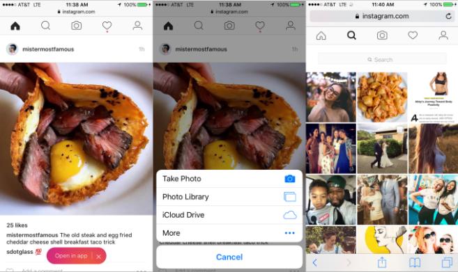 Instagram, le foto si caricano anche dal sito web mobile
