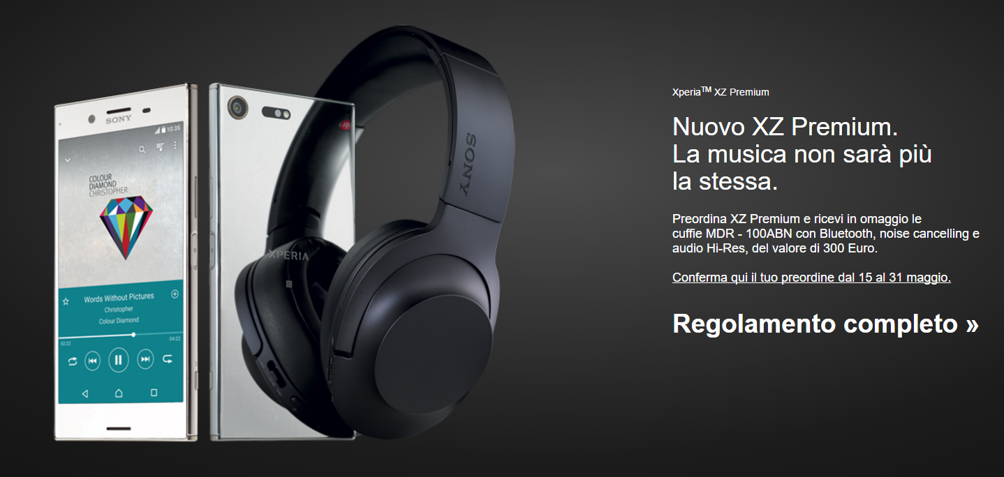 Auscultadores Sony Xperia XZ Premium
