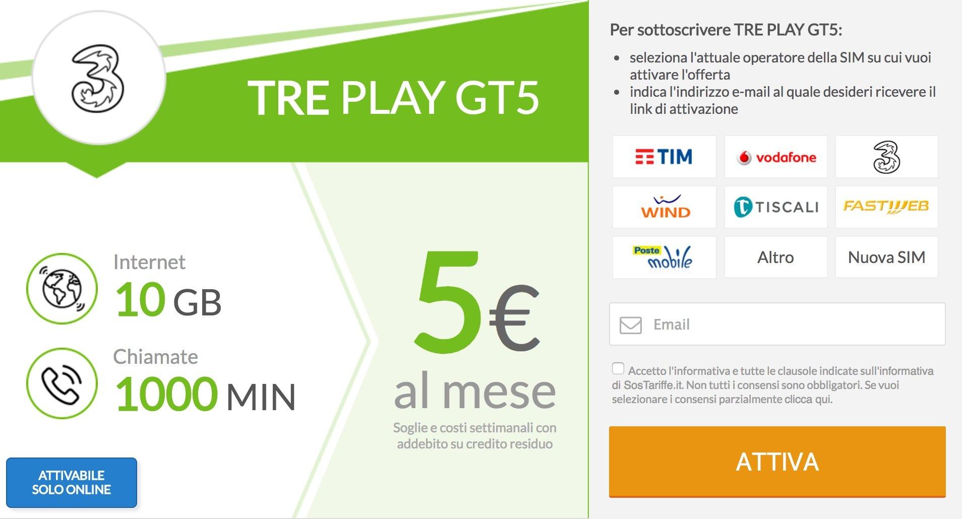 Tre rilancia ancora: ben 1000 minuti e 20GB a soli 7€