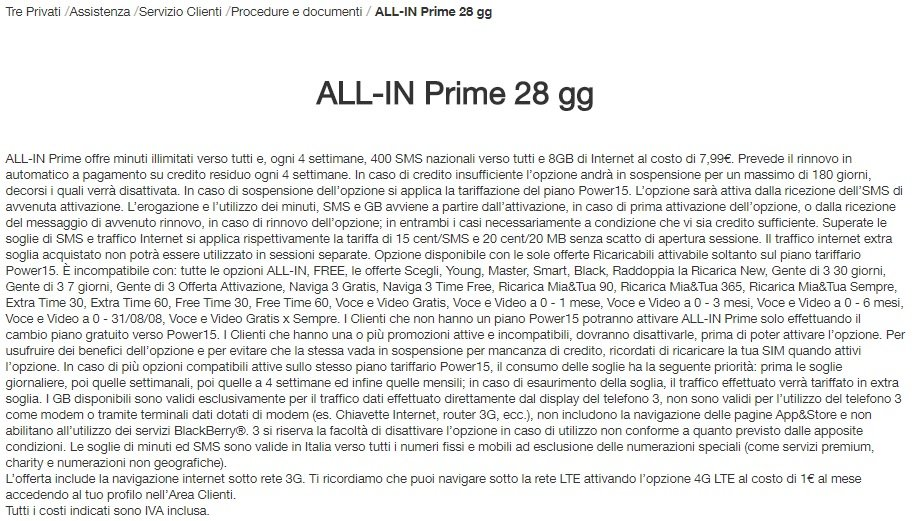 3 Italia All-in Prime 28 gg