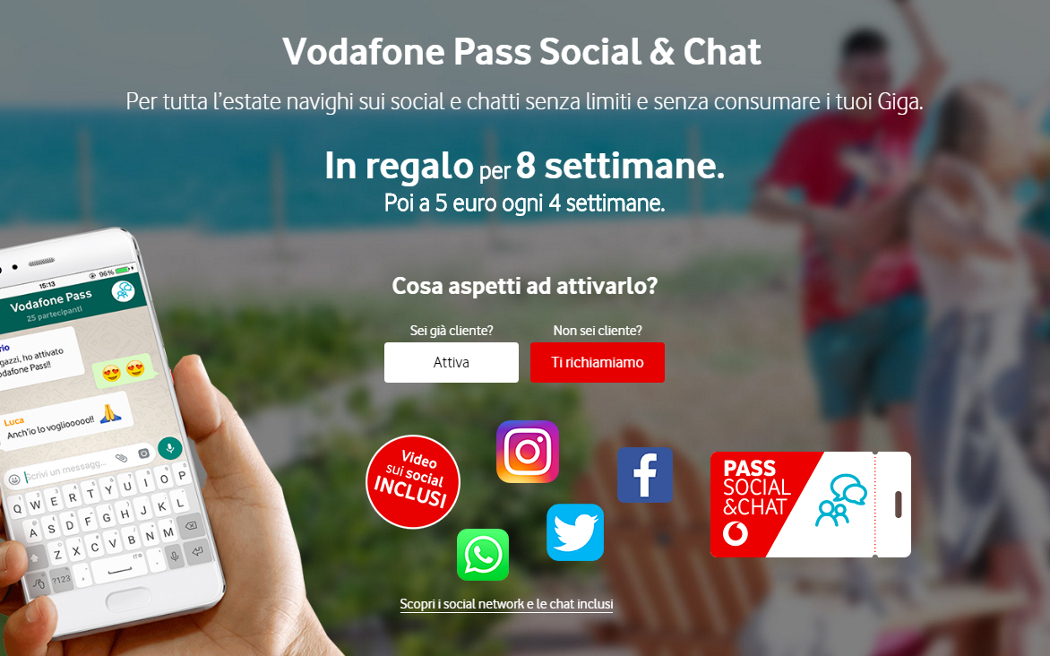 Vodafone pass social e chat