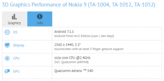 Nokia 9 Nokia 8 GFXBench