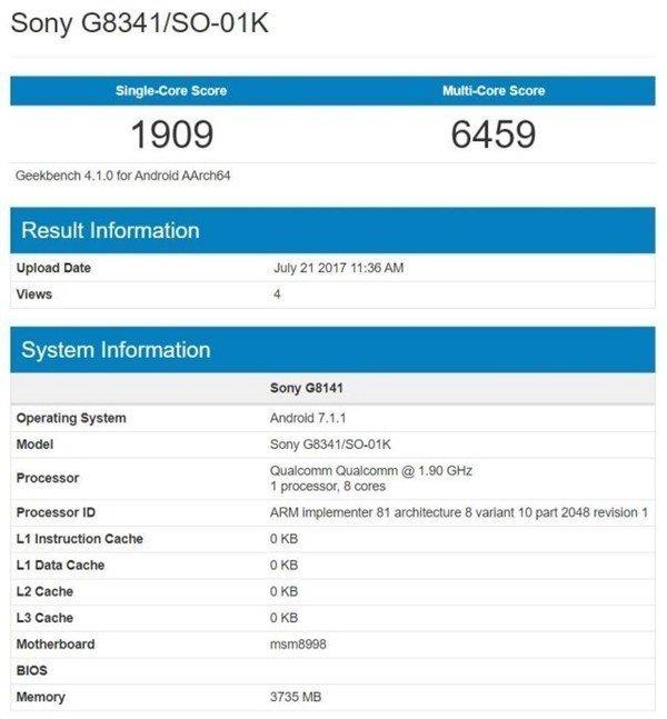 Geekbench Sony Xperia XZ1
