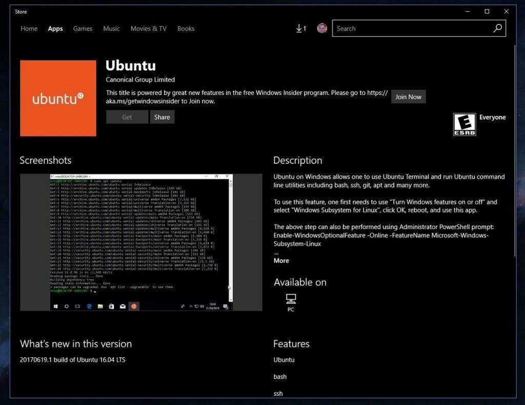 Ubuntu Windows应用商店