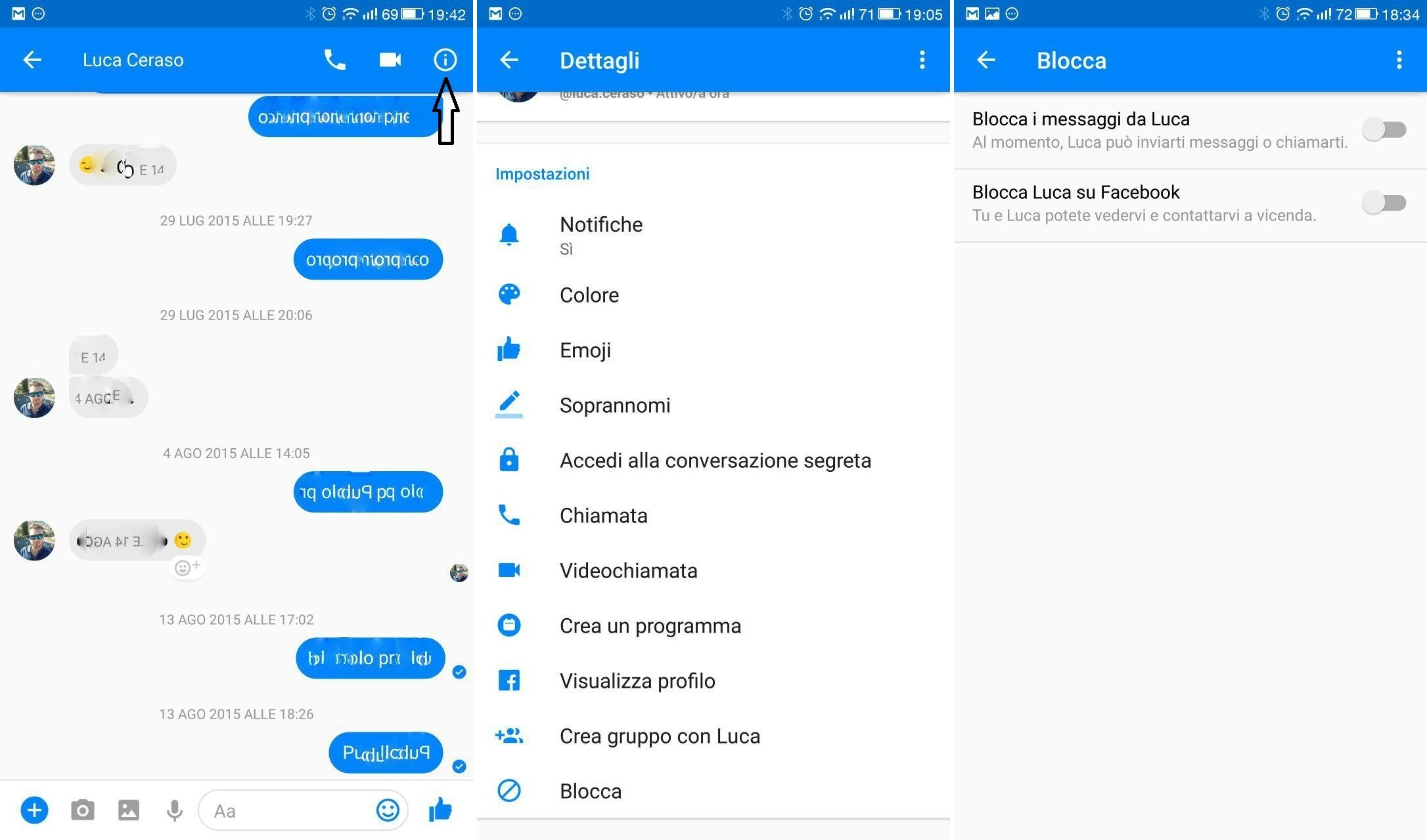 blocco messaggi facebook messenger guida chat