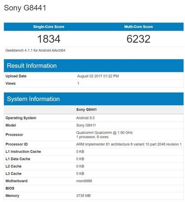Il Sony Xperia XZ1 appare su GFXBench con Android 8.0