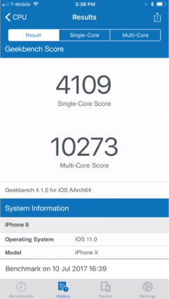 iPhone X and Apple A11: record numbers on GeekBench