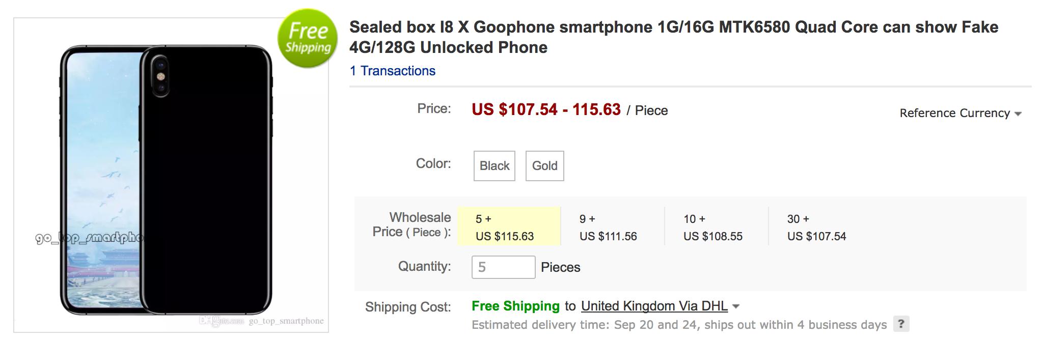 goophone x clone iphone x