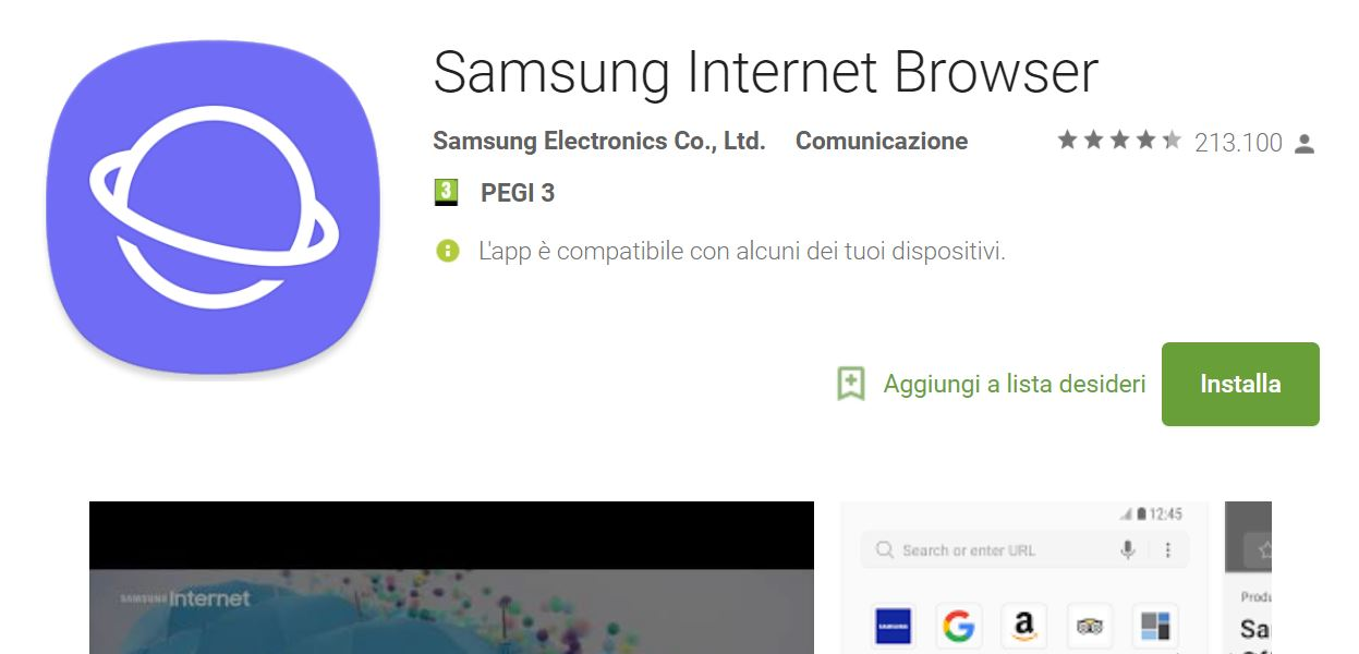 Samsung Internet Browser is available for all Android devices