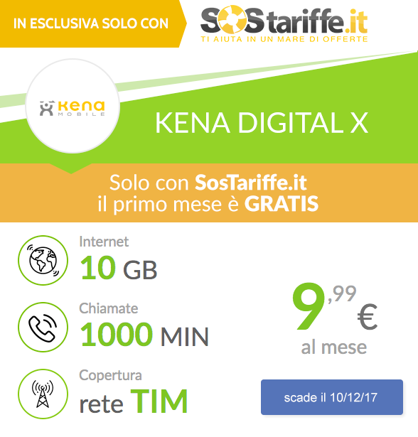 Esclusiva SosTariffe.it Kena Mobile X 1 mese gratis