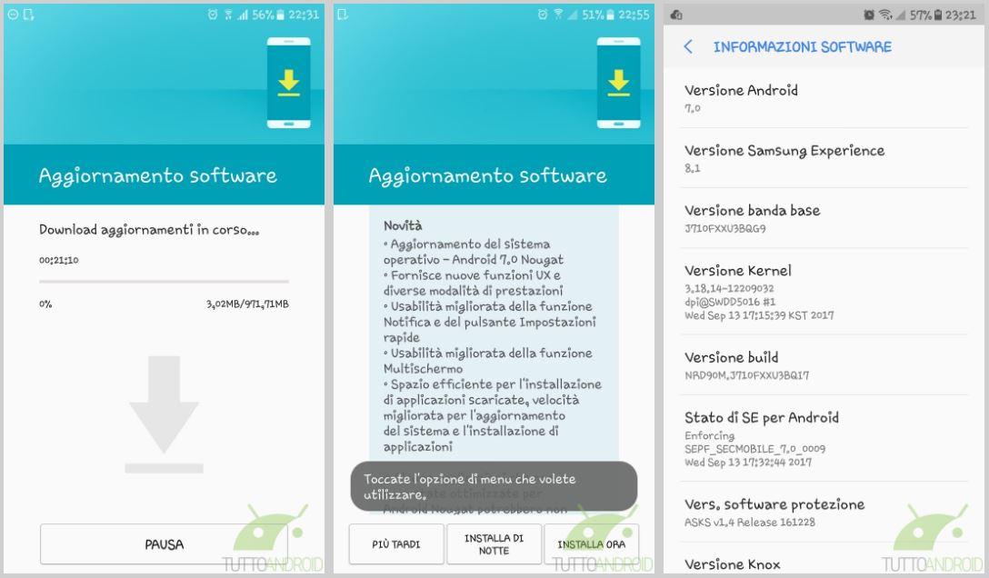 Samsung Galaxy J7 2016 Android 7.0 Nougat aggiornamento Italia