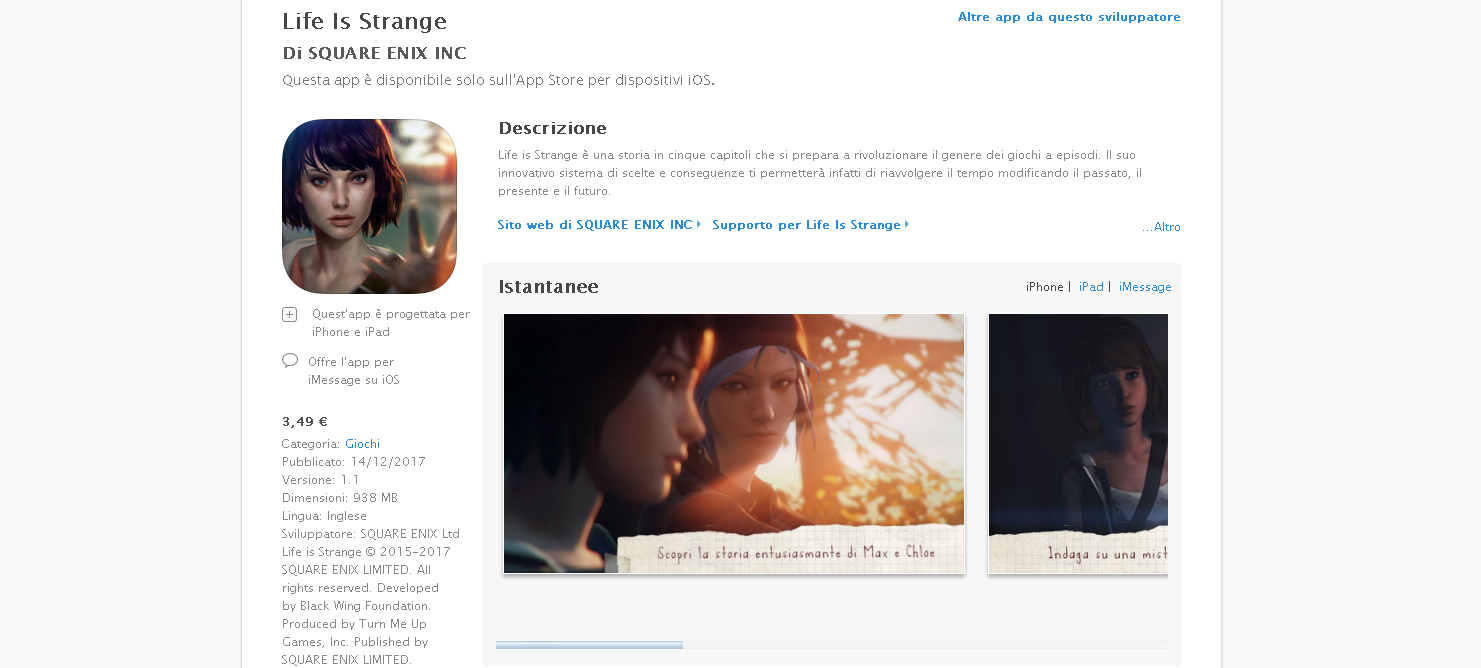 life is strange ios iphone app store