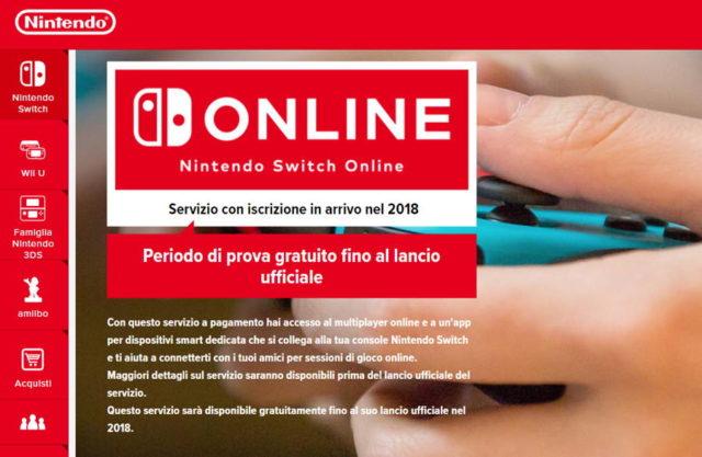 nintendo switch online banner sito italiano