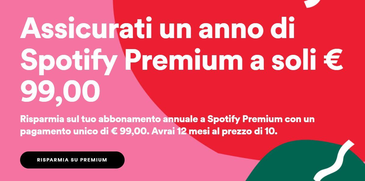 spotify premium abbonamento annuale offerta