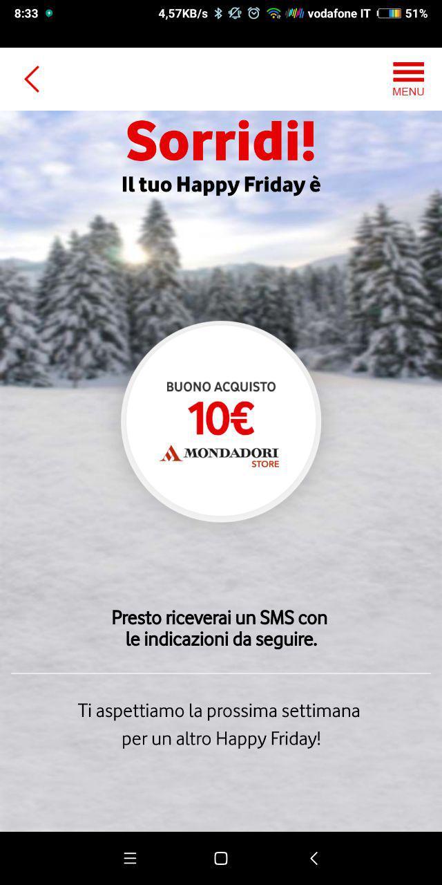 Vodafone Happy Friday regala 10 euro di sconto per i